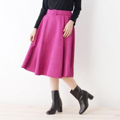 【WEB限定あり】スエードタッチフレアミディスカート