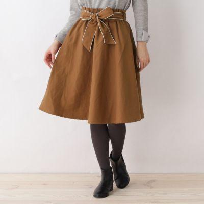 【WEB限定サイズ(SS・LL)あり】リボン付フレアスカート