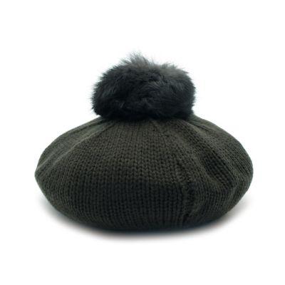 ラビットファーポンポンニットベレー帽