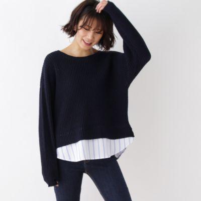 裾シャツ付ニット