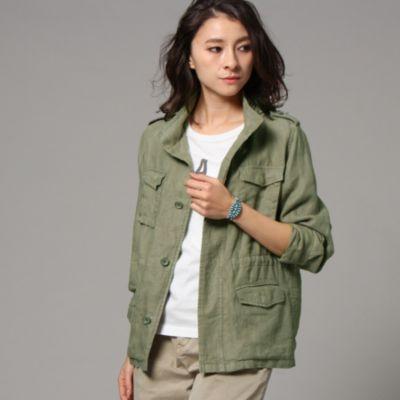 【洗える】リネンミリタリージャケット