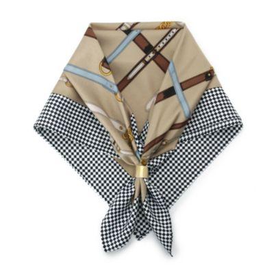 リング付きチェックデザインスカーフ