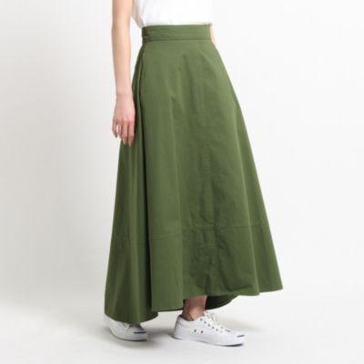 【洗える】ツイルフレアマキシスカート