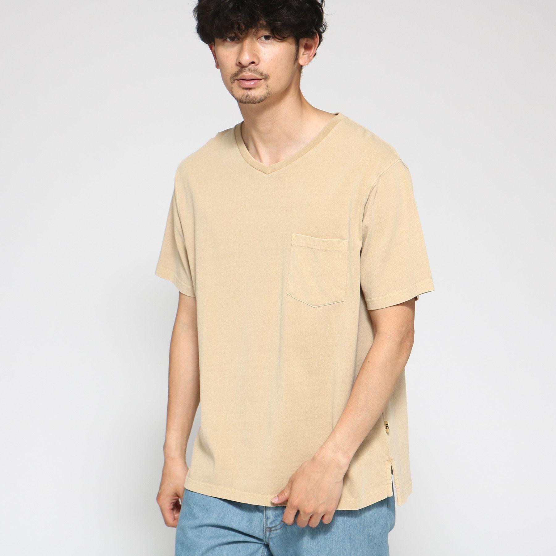 Tシャツ メンズ 製品染め VネックTシャツ