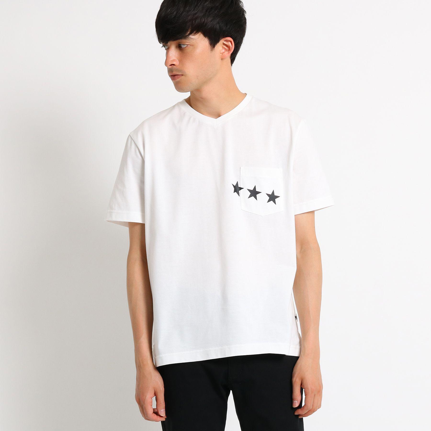 【吸水速乾】 Tシャツ メンズ スターライン VネックTシャツ