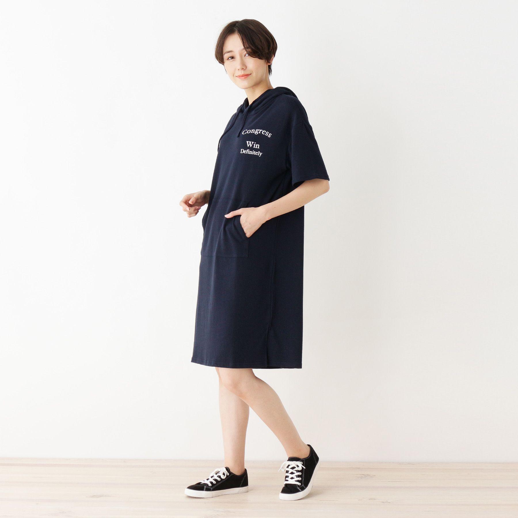 <集英社> フード付ミニ裏毛ワンピ画像