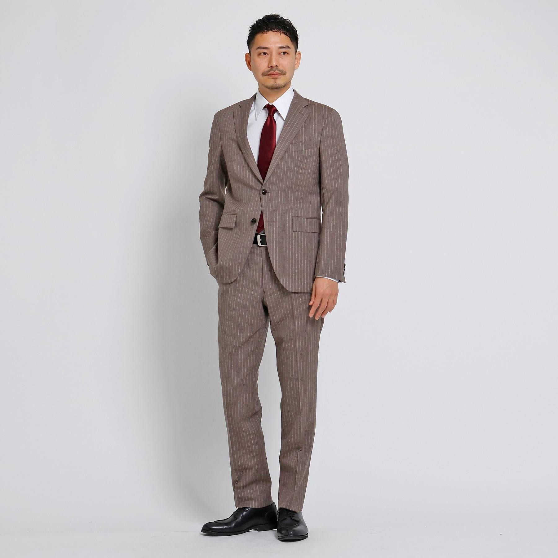<集英社>【PNJ】小杢紡縞柄スーツ[ メンズ スーツ 日本製 ]画像