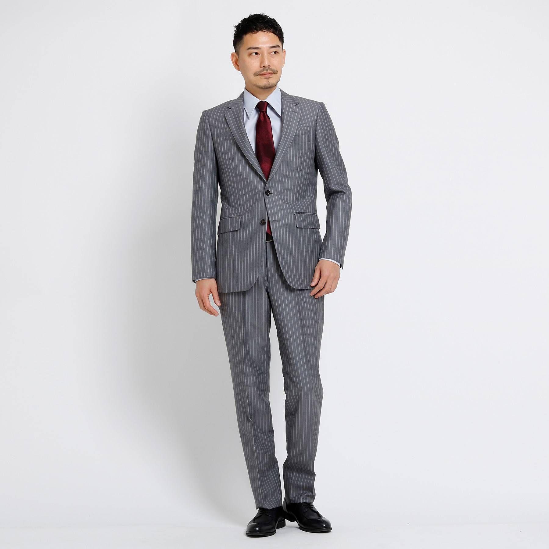 <集英社> バンカーストライプスーツ Fabric by Dormeuil[ メンズ スーツ 軽量 ストライプ ドーメル ]画像