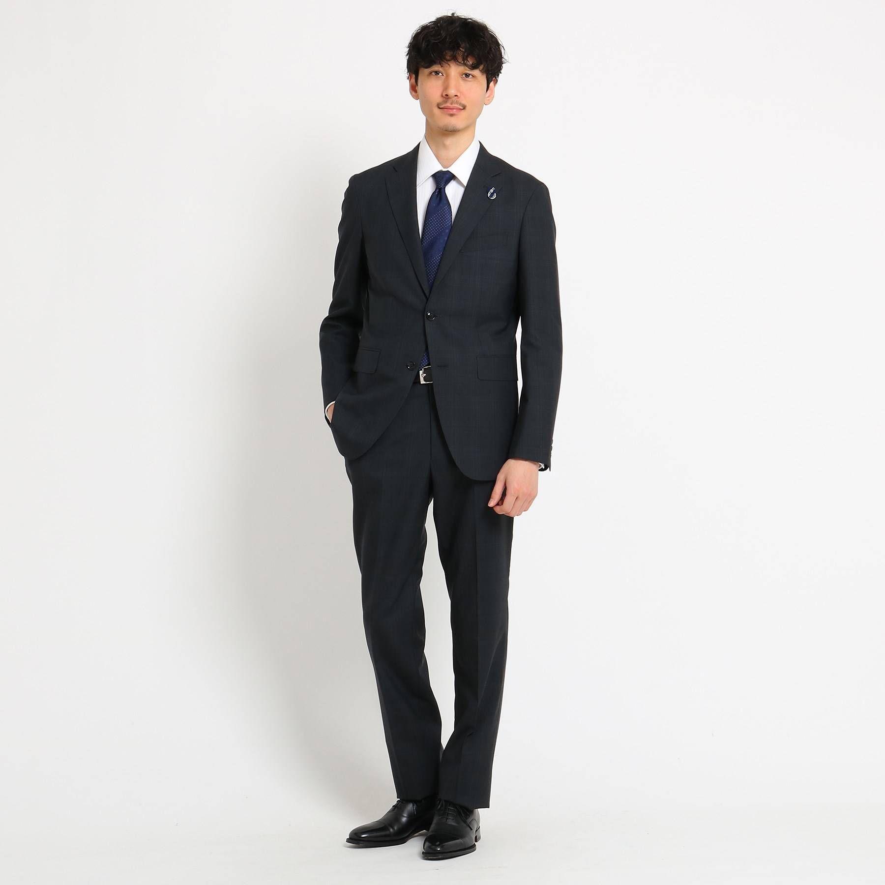 <集英社>【PNJ】小杢格子柄スーツ[ メンズ スーツ ビジネス 日本製 ]画像