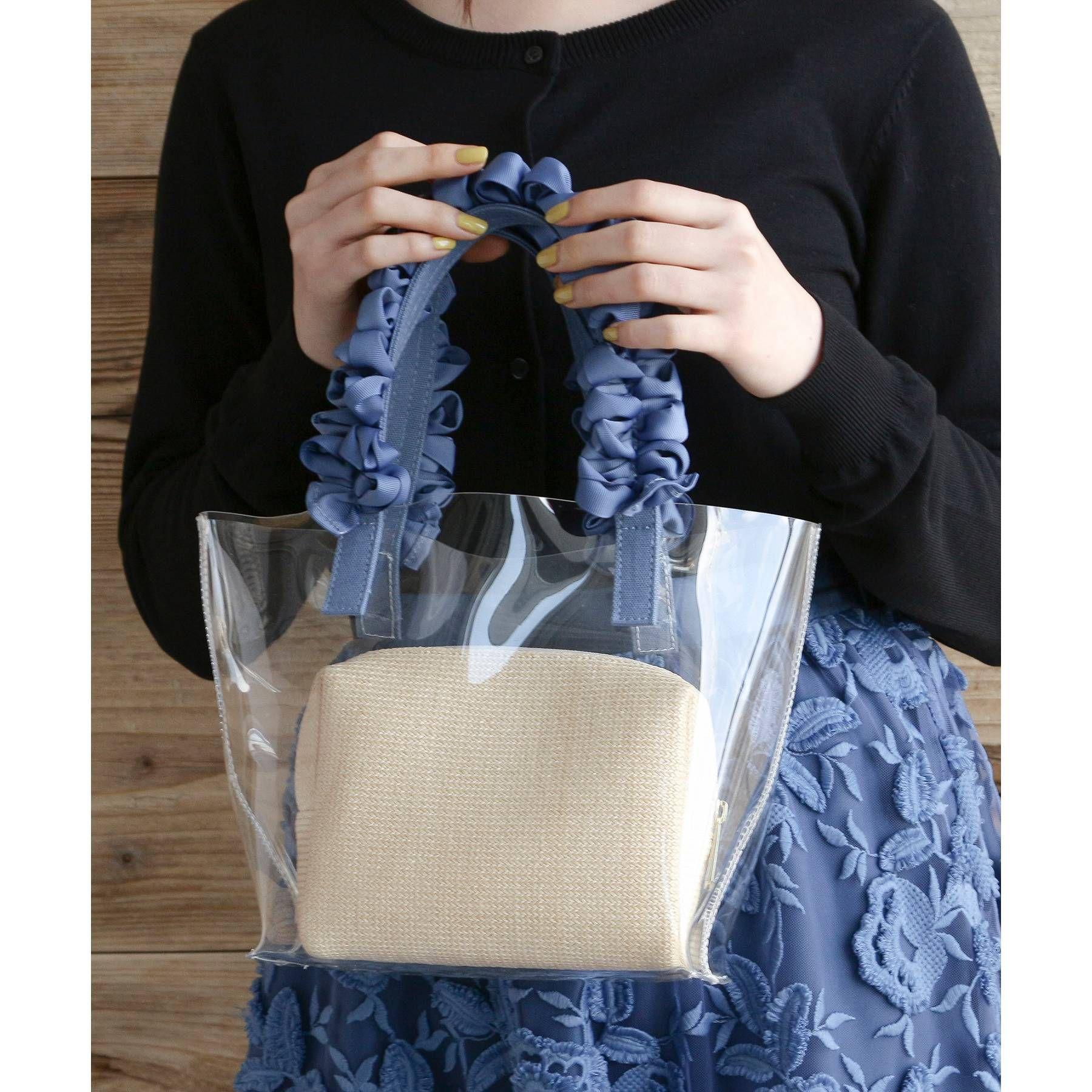 AG by aquagirl(エージーバイアクアガール)/【WEB限定アイテム】ポーチ付フリルハンドルクリアミニトートバッグ