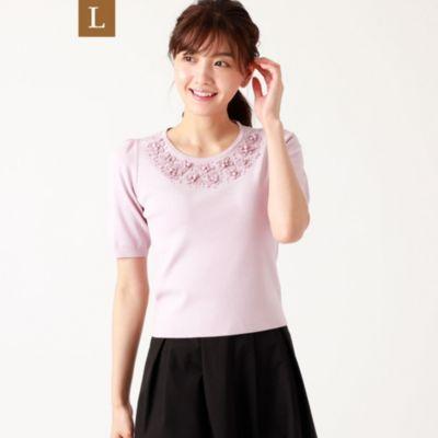 【L】レーヨンナイロンビジューニット