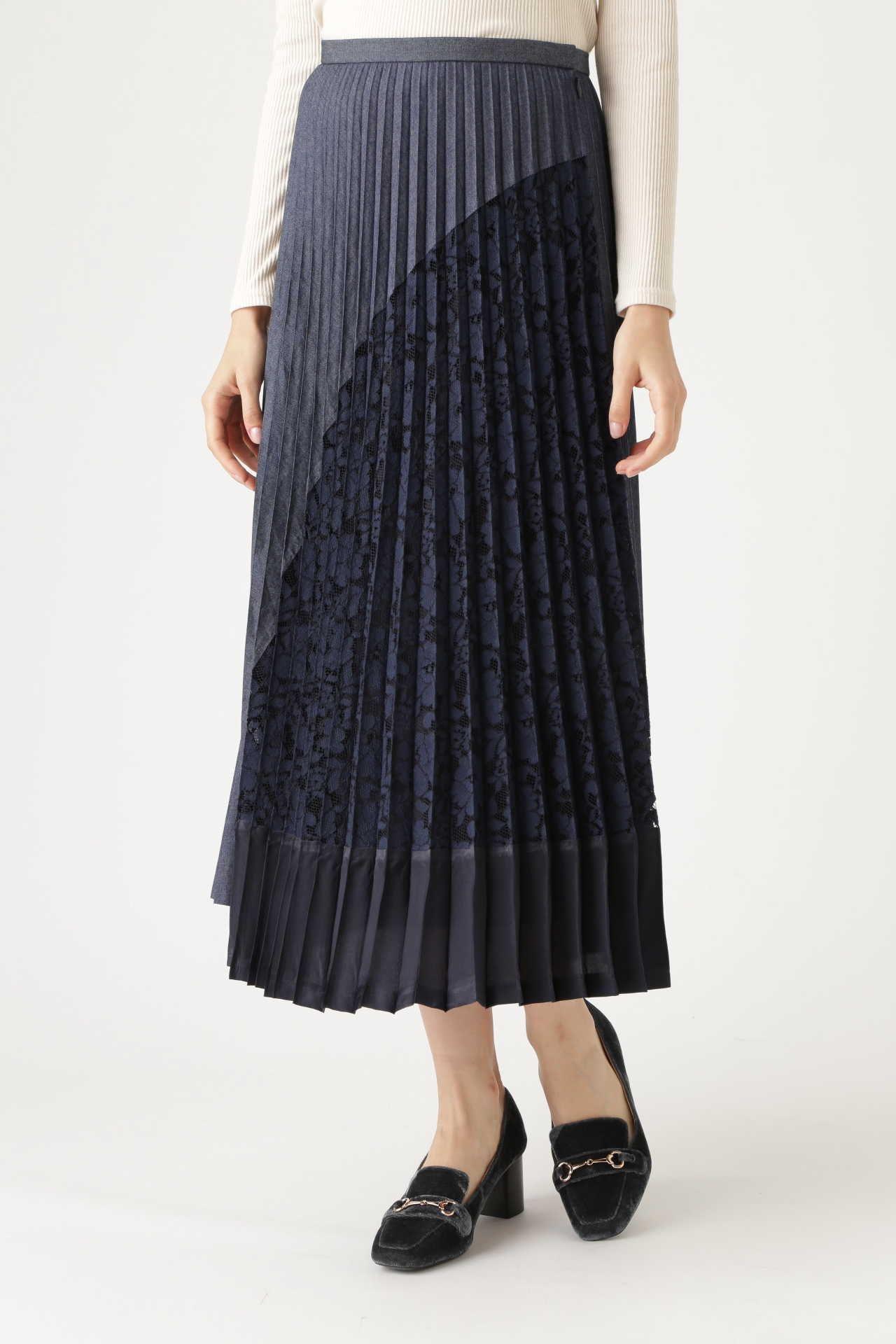 <集英社> JILLSTUART(ジルスチュアート)/◆ユリアコンビプリーツスカート