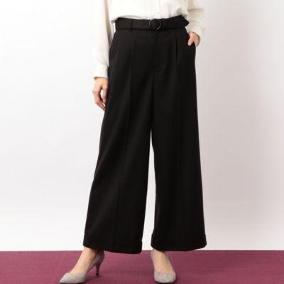 D 裾ダブル ストレートパンツ ベルト