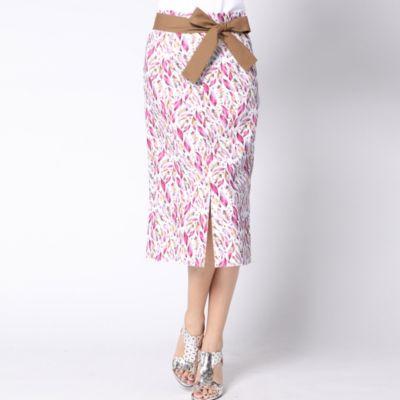 ≪大きいサイズ≫ブッチャーリーフプリントストレートスカート