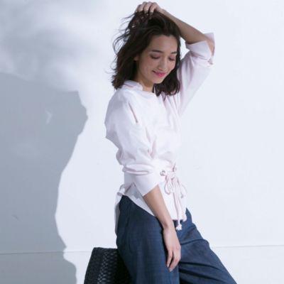 【ベルト付き】抜き衿ツイルビッグシャツ