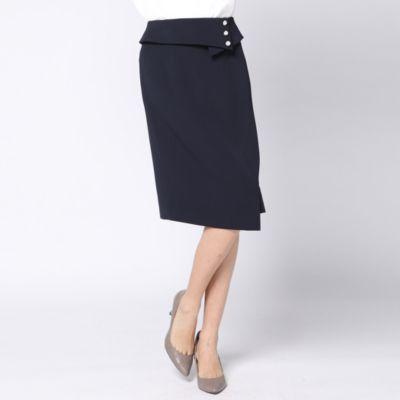 ≪大きいサイズ≫【セットアップ対応】パール風パーツ付きストレートスカート