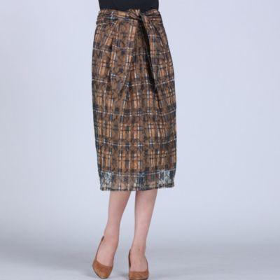 <集英社>≪大きいサイズ≫ラッセルレースチェックプリントタイトスカート画像