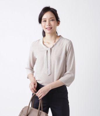 <集英社>【春新作】エラーチェックプリント ボウタイブラウス(スーツインナー対応)