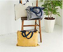 【インテリア雑貨特集】Lino e Lina リーノ・エ・リーナ リネンバッグ デュオ   A4サイズも余裕で入る横型リネントートバッグ