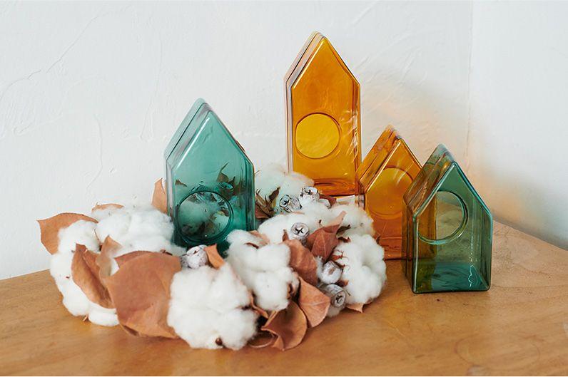 【インテリア雑貨特集】Horn Please MADE GLASS カラードームハウス(S) | キャンドルを灯しても、消しても可愛いハウス型のガラスドーム