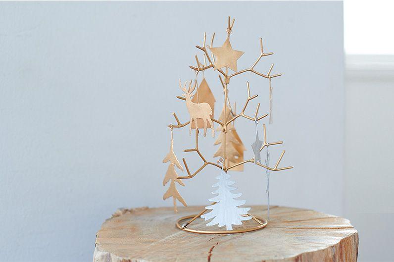 【インテリア雑貨特集】Horn Please MADE ウィンターツリーオーナメント (オーナメント10個付き)  | 玄関先や窓際などに置いてさりげないクリスマス感を楽しめます