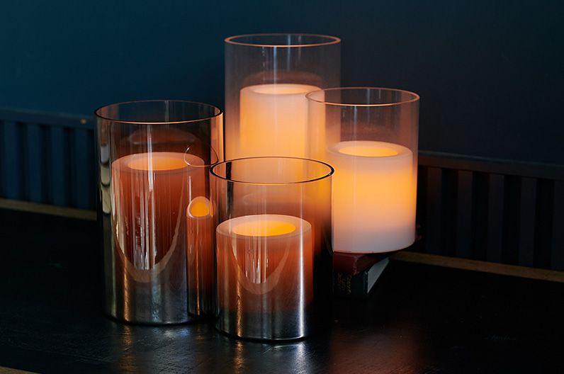 【インテリア雑貨特集】DI CLASSE LEDキャンドル Lunga L ホワイト/ミラー | ほんのりとした灯りのLEDキャンドル