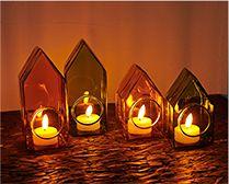 【インテリア雑貨特集】Horn Please MADE GLASS カラードームハウス(L) | LEDライトキャンドルを入れると、素敵なおうち型のイルミネーション飾りが完成。
