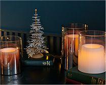 【インテリア雑貨特集】DI CLASSE LEDキャンドル Lunga S ホワイト/ミラー| 赤やグリーンを使わない大人のシックなクリスマスを演出