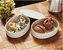 【インテリア雑貨特集】堀江陶器【h+】オーバルボックスM(楕円の重箱)2段 | ホリデーシーズンは、食器にも凝ってムードを高めて